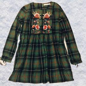 ZARA Plaid Embroidered Dress
